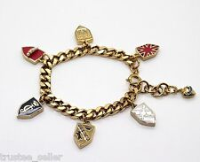 NWT Juicy Couture Brand Gold Pave Shield Enamel Multi Charms Bracelet