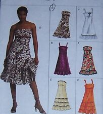 summer PARTY SUNDRESS pattern 18 20 22 strap & strapless ruffles OOP fitted miss