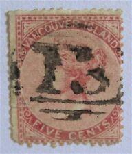 1865 Canada Vancouver Island British Columbia 5 Rare Quesnellemouth #13 Cancel