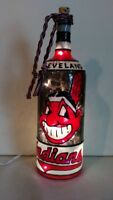 Cleveland Indians Inspired Bottle Lamp Hand painted Lighted Stained Glass Look