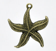 6 Bronze Tone STARFISH charms or pendants chb0289