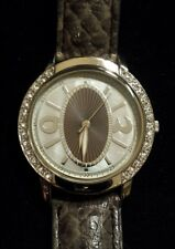 37mm Round Crystal Bezel Silvertone Watch With DECO FACE & Grey Leather Band