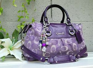 Coach 18425 Ashley optic signature satchel handbag purse shoulder bag purple