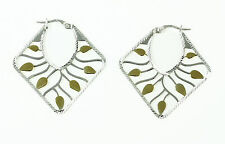 Laser Cut Leaf Sterling Silver Hoop Earrings with Gold Tone Plated