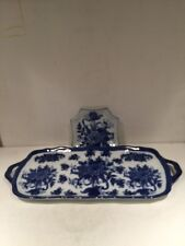CB Tray Platter Server Blue Flowers Design Porcelain