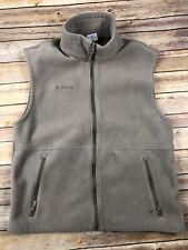 Columbia Mens Fleece Beige Tan Zipped Sleeveless Pockets Large Vest