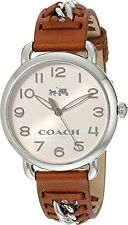 COACH Women's Delancey 36mm Leather Strap Watch Chalk/Russet Watch 14502273