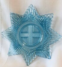 Glass Star Cross Honi Soit Qui Mal Y Pense Order Garter Chivalric Blue Plate