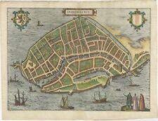 Antique Map of the City of Dordrecht by Braun & Hogenberg (c.1581)