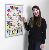 PIN THE DUMMY ON THE BABY Shower Party Game Boy Girl Unisex MULTI PLAYER