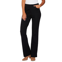 Isaac Mizrahi Live! 24/7 Stretch Boot Cut Fly Front Pants Black Size Petite 14