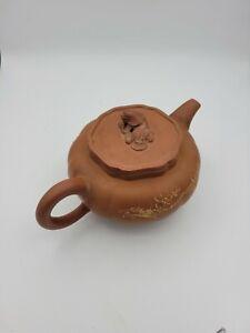 Rare Chinese Yixing Teapot Pumpkin Shaped Foo Dog 20th Century Marked
