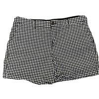 Old Navy Everyday Shorts Black & White Gingham Mid Rise Slant Pockets Size 12