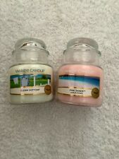Yankee candle 2 small jars 'Clean Cotton/Pink Sands'