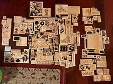 Lot of 183 Wood Mounted Rubber stamps PSX, Stampscapes, Stampland, Stampin' Up