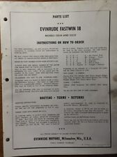 1961 EVINRUDE 18 HP FASTWIN PARTS MANUAL  2669-8/60/8M