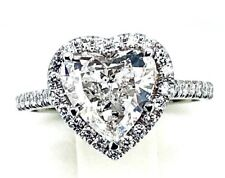 solitaire HEART DIAMOND halo side stones 14k white GOLD ring TCW2 GIA engagement
