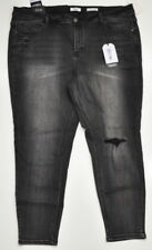Kensie Jeans Effortless Ankle Mid-Rise Faded Black Distressed Plus Size 22W NWT