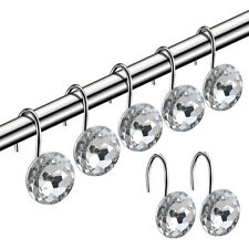 12 PCS Shower Curtain Rhinestone Crystal Glass Hooks Rings Set Bathroom Decor