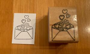 Rubber Stampede Love Mail Rubber Stamp Envelope Hearts Vintage 477-B Penpal