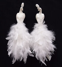 11 inch White Feather/Glitter Peacock Bird, Handmade, Clip-on, Set of 2
