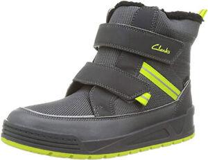 Clarks JUMPER JUMP Kids Grey WATERPROOF Warm-lined Winter Boots 12 - 5G Fit BNIB