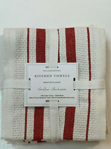 Williams Sonoma RED Classic Striped Towels S/4