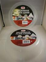 "2 PK MICROWAVE PLATE COVER LID 10"" PLASTIC DISH SPLATTER TOPPER VENT HOLES"