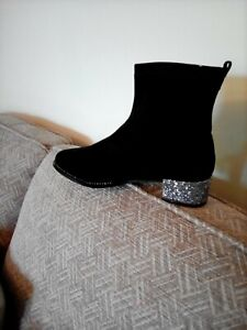 Ladies Lovely Black Faux Suede Boots Size 3 New In Box