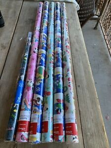 6 Huge NEW ROLLS Disney Mickey MINNIE Donald Christmas 382 SqFt Wrapping Paper