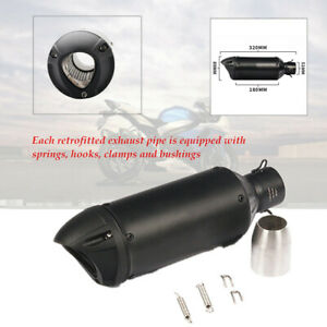 Motorcycle Stainless Steel Slip-on Black Exhaust Tail Pipe Muffler For 38-51mm