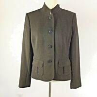 Women's Blazer Alfani Military Style Button Down Jacket Career Size 8 Mandarin