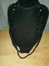 Bead Necklace Vintage Long Black