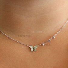 Butterfly Solid 14k Yellow Gold Real SI-F Diamond 0.38ct Chain Necklace Jewelry