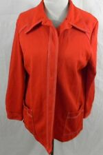 Vintage 1970s Red Polyester Womens 16 Jacket Pockets Retro White Top Stitching