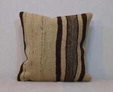 16x16 Pillow Cover,Undyed  Decor,Organic Wool Cream and Gray Kilim Pillow Case