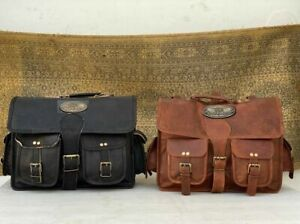 Black Brown Saddle Bag Panniers Pouch (1 Side) Leather Motorcycle Side Luggage