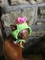 hand knitted highland cow horned hat for your cat/small