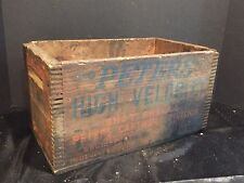 Antique Vintage Finger Jointed Wooden Ammunition Crate Peters Shot Shells