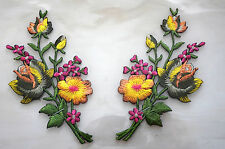 Yellow Grey Pink roses pair flower floral boutique Embroidered Sew Iron on Patch