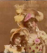 VICTORIAN CHILDREN GIRL & MOTHER LOVE  two (2) real Photo tinted postcard ca1900
