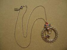 Vintage D'OR Sterling Silver Aurora Borealis Rhinestone Filigree Wreath Necklace