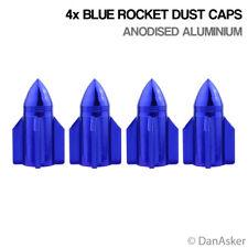 4x Blue Rocket Car Bike Motorcycle BMX Wheel Tyre Valve Aluminium Dust Caps