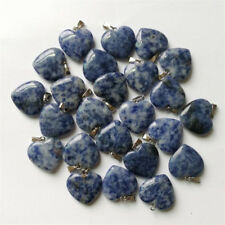 2pcs/lot heart Blue jade Silver Beads Pendants necklace Unisex natural Gemstone