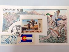 COLLINS HAND PAINTED FDC 1991 COLORADO MILFORD DUCK