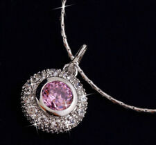 18ct 18k White Gold GF One Stone Pink Topaz Cluster Pendant Necklace
