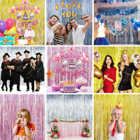 Metallic Foil Laser Fringe Curtain Tinsel Birthday Party Decor Wedding Supplies