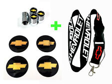 NEW CHEVROLET Black Gold Wheel Cap Sticker Decal 56mm + Lanyard + Valves Bundle