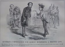 "7x10"" punch cartoon 1852 AUSTRIA`S COMPENSTAION FOR MURDERING BRITISH LION"