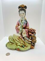 "Antique 13"" Chinese Wucai Porcelain Figurine  Seated Women with Flute"